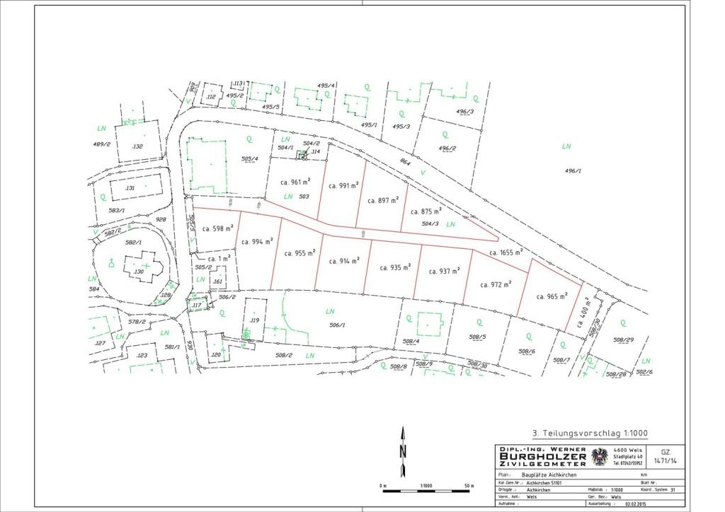 Parzelleneinteilung Baugrundstücke Aichkirchen