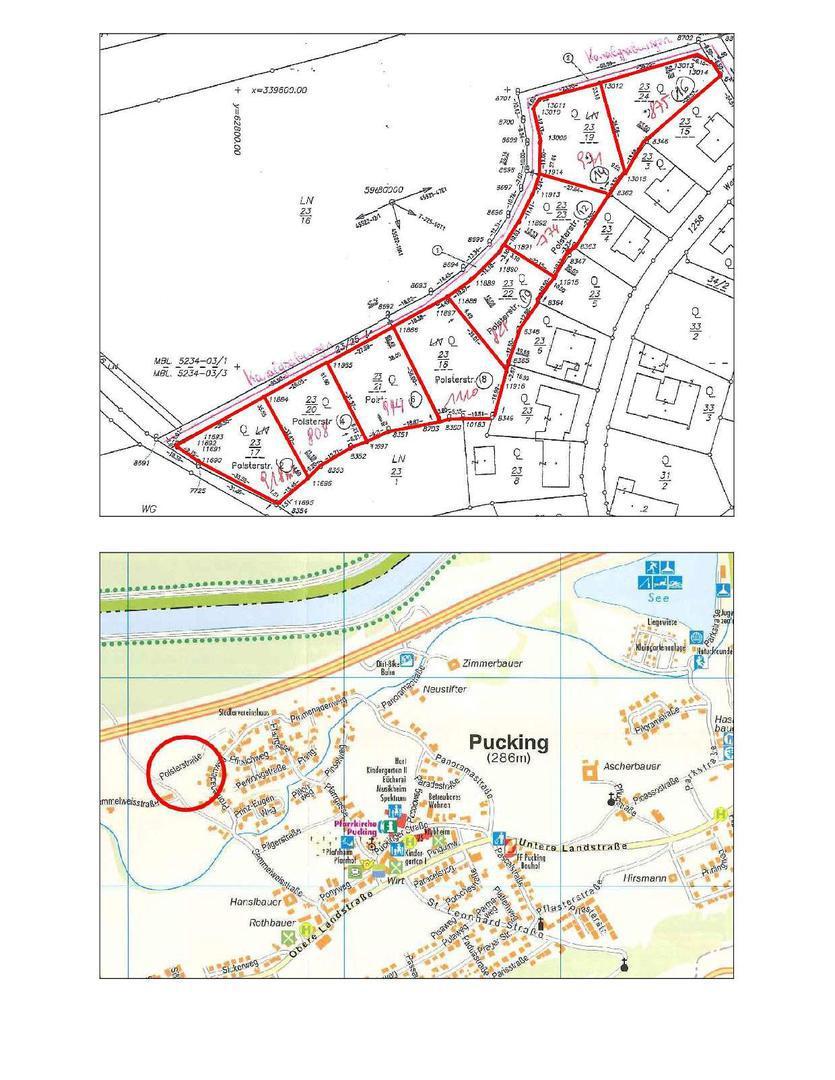 Lageplan und Parzelleneinteilung Baugrundstücke Pucking